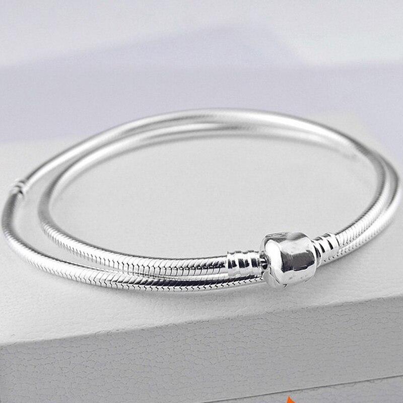 Authentique 100% 925 argent Sterling charme Moments collier serpent chaîne colliers Fit Pan perles Vintage femmes bijoux à bricoler soi-même