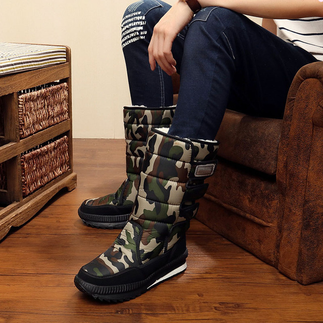 New men snow boots waterproof men's ankle boots Winter outdoor Fur warm Mans Boot fashion work shoes Men Shoes Unisex Size 36-46 3