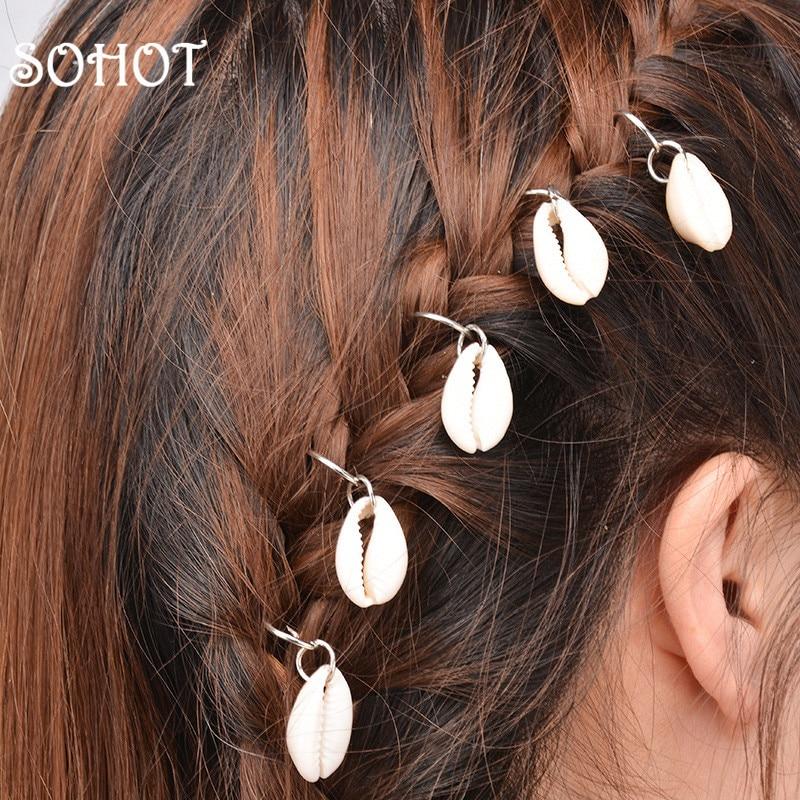 SOHOT New Arrived Set Circle Shell Cross Pendant Women Hairwear Dreadlocks Locs Headbands Hair Clips Ornaments Gift