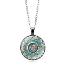 Hot Charm Mandala Art Picture necklace Henna Crystal pendant Yoga Om Symbol Zen Buddhism Glass jewelry For Women gift 3 Colors(China)