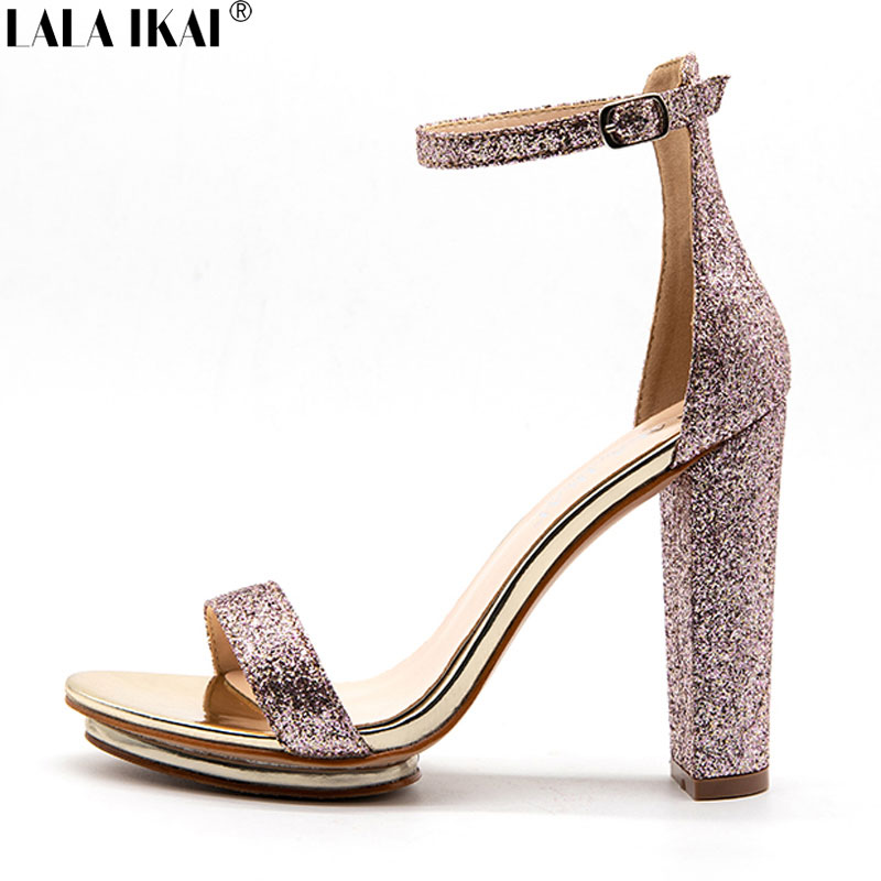 678d1ccf7ad93 LALA IKAI Women Sandals High Heels Summer Heeled Sandals Sexy Gladiator  Party Sequined Ladies Sandals Female Shoes XWC1344 45-in High Heels from  Shoes on ...