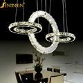 Venda quente diamond ring led candelabro de cristal de luz moderna lâmpada círculo de luz estilo de moda de luxo cristal lustre quarto