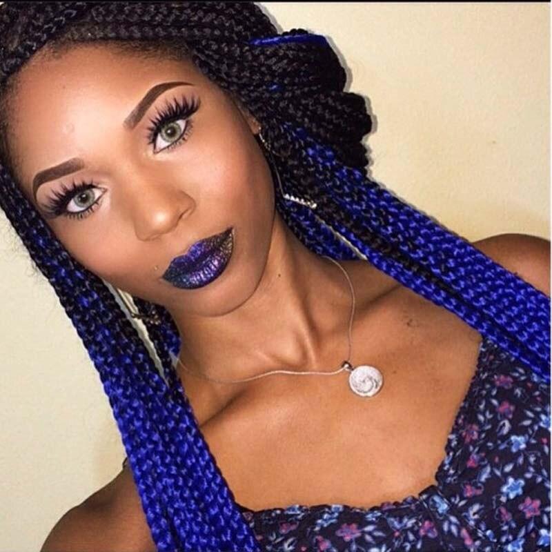 43 Pretty Box Braids with Color for Every Season   StayGlam  Blue Black Box Braids