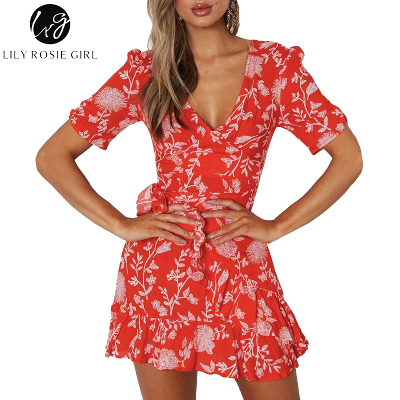 Lily Rosie Girl Sexy V Neck Ruffles Red Print Women Dresses Summer Boho Beach Mini Dress Short Sleeve Short Party Ladies Vestido-in Dresses from Women's Clothing on AliExpress - 11.11_Double 11_Singles' Day 1