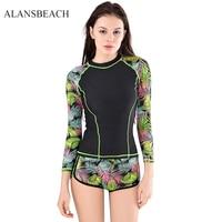 ALANSBEACH Woman Bikini High Waist Swimsuit Beach Wear Ruffle Print Two Piece Tankini Set Floral Long