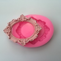 Food Grade Silicon Mold Wedding Cake Decoration Mold Picture Frame Mirror Fondant Cake Decorating Tools
