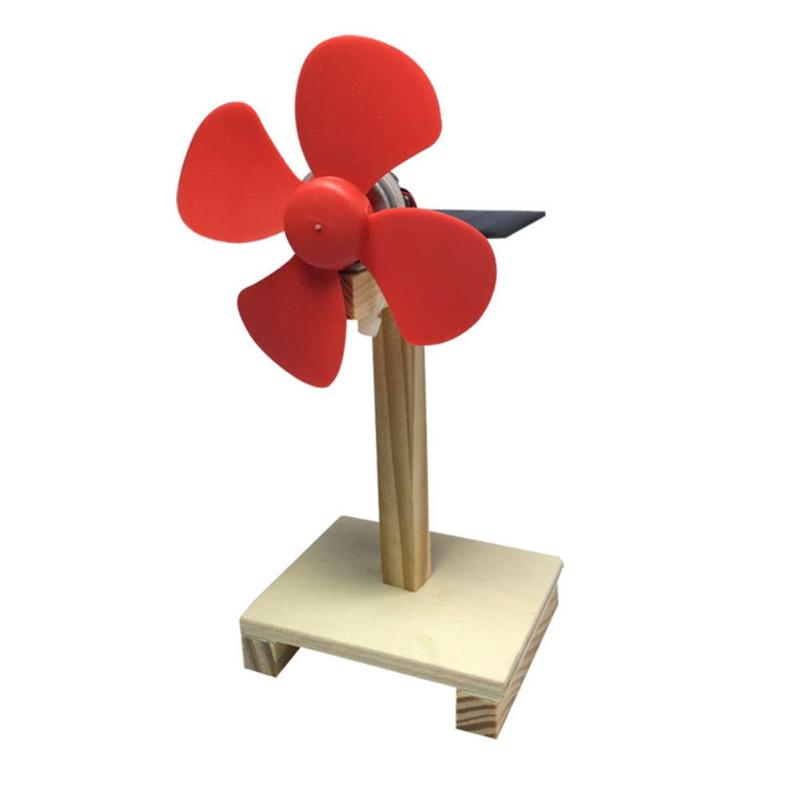 DIY Wood Rotating Solar Fan Handmade Assembled Kids Science Experiment Kits Educational Learning Toy Boy Gifts