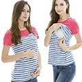 Топы материнства Грудное Вскармливание Одежда для беременных Кормящих Топы Новый Полосатый Лоскутная Коротким Рукавом