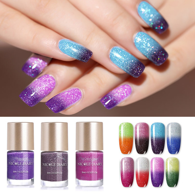 Nicole Diary 9ml Thermal Nail Polish Glitter Temperature Color Changing Water Based Manicure Varnish Shinny