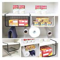 1 Pc Closet Shelf Storage Rack Black White Storage Rack Hanging Basket Kitchen Cabinets Multifunctional Iron