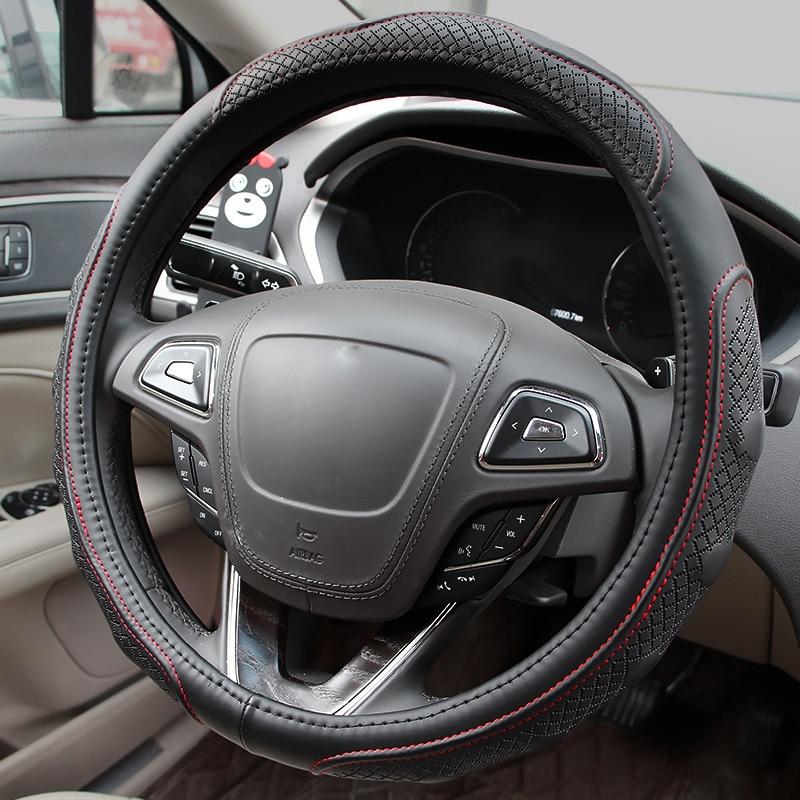Masaj sükan örtüyü dəri avtomobilin sükan çarxı idman sükanları üçün aksesuarların ölçüsü M universal ölçüsü 38cm