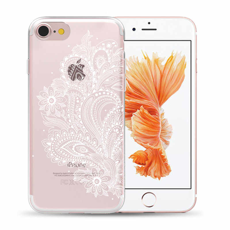 Wit Sexy Kant Bloem Zachte TPU Cover Case Voor iPhone 11 Pro Max X XS MAX XR 5 5S SE 6S 6 7 8 Plus Mandala Bloemen Silicon Gevallen
