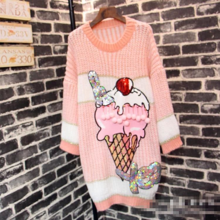 2018 Autumn New Cartoon Ice Cream Printed Dress Long Sleeved Sweater Dress Street Wear Plus Size Sequins Knitted Wear Dresses iPhone