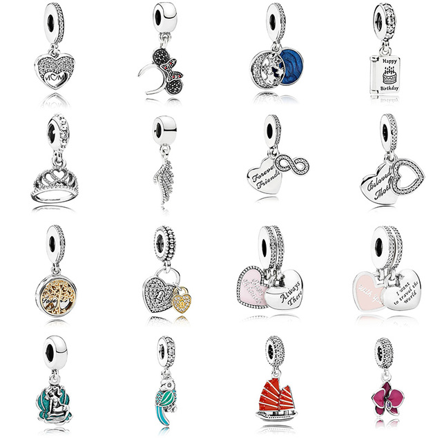 16 Style Diy Silver Beads Charms Sailboat Wing Love Crystal Pendant Beads for Women DIY Pandora Charms Bracelets & Bangles