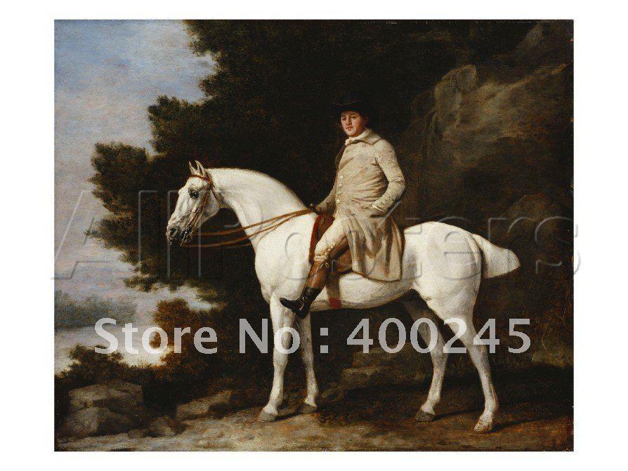 Лошадь картина маслом холст джентльмен на серой лошади в скалистой лесистой пейзаж Джордж стабббс арт Высокое качество