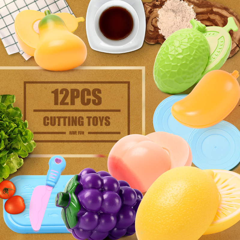 12PCS Education toys for girls boys children for kitchen goods pretend play cutting birthday food for dolls Fruit Vegetables