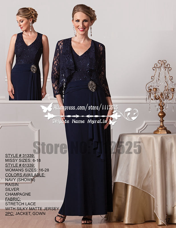 5947c2f7443 AMD3061 Mother fo the bride dresses with lace jacket Dark navy gown for  wedding-in Mother of the Bride Dresses from Weddings   Events on  Aliexpress.com ...