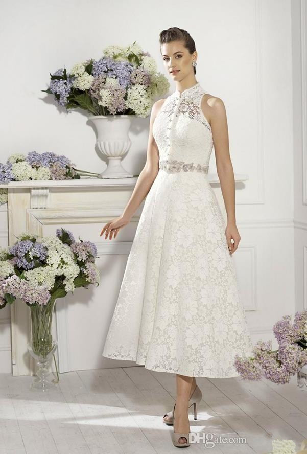 Aliexpress Country Style Casual 2016 High Neckline Lace Wedding Dresses Short Y Sheer Back Beach Bridal Gown Tea Length Gowns From