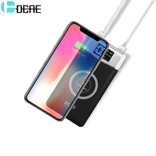 DCAE Qi Wireless Charger Dual USB Power Bank 10000mah Portable External Battery Powerbank For iphone X 8 Samsung S9 S8 S7 Xiaomi