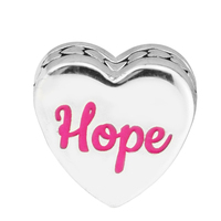 925 Sterling Silver Hope Ribbon Printed Words Charm Pink Enamel Love Shape Fit Woman DIY Original