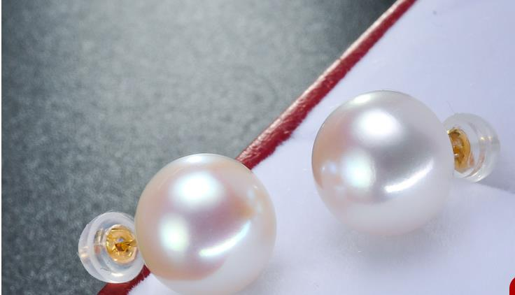 free shipping charming 13.5-14mm south sea round white pearl earring free shipping charming 13.5-14mm south sea round white pearl earring