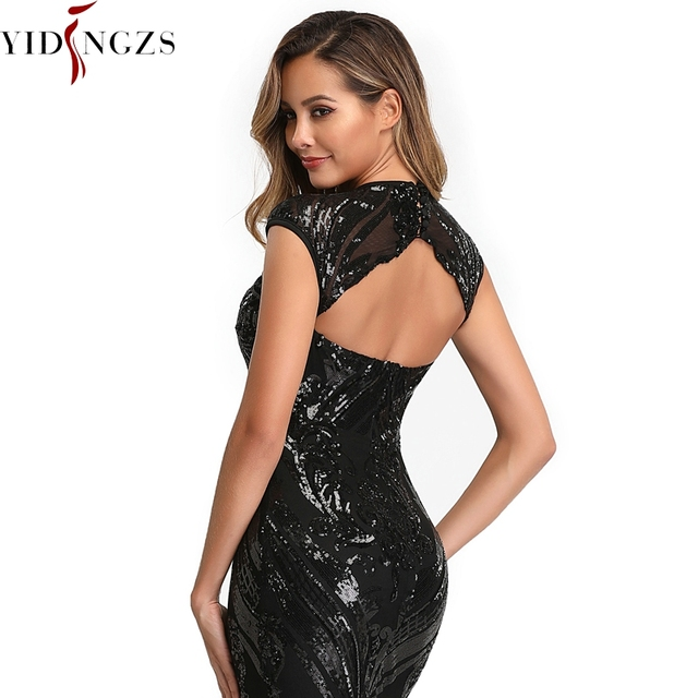 YIDINGZS Elegant Black Sequins Evening Dress 2019 Backless Beads Long Evening Party Dress YD088 4