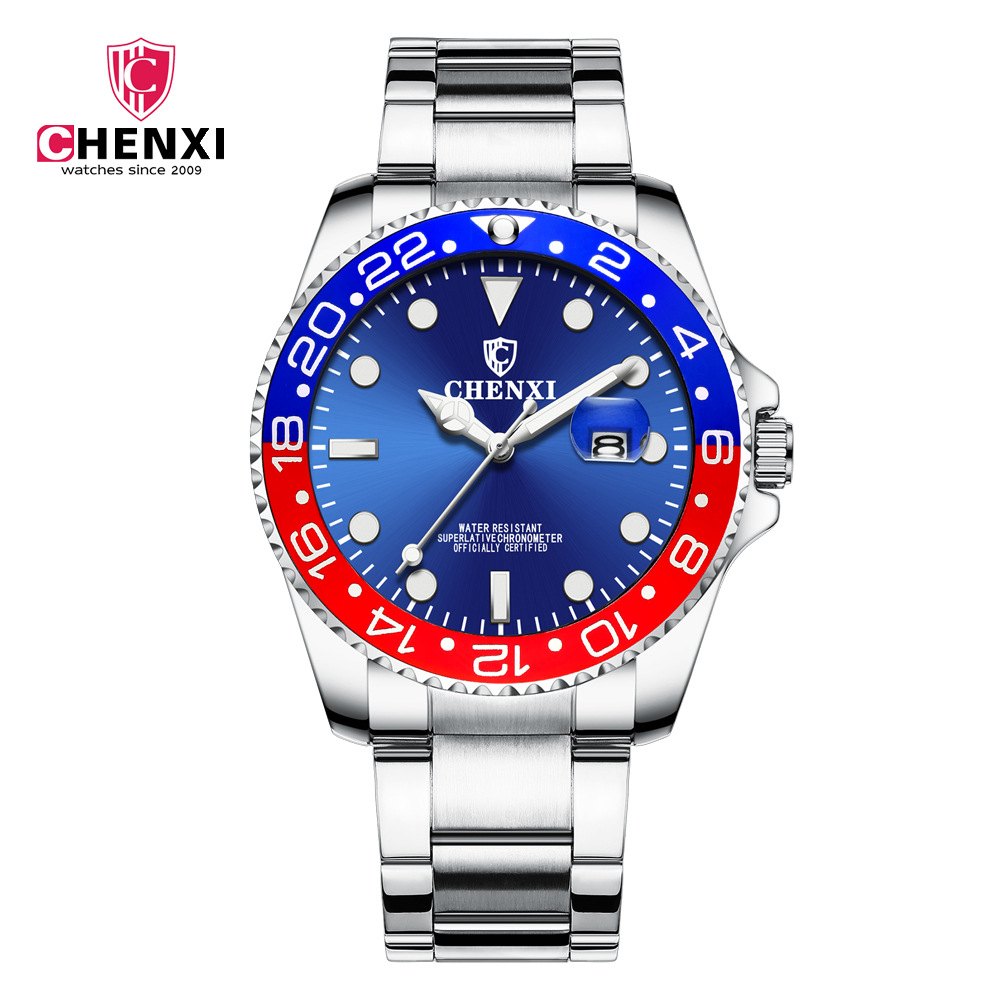 Luxury Brand CHENXI Men Watch Stainless Steel Blue Male Quartz Watch Waterproof Calendar Mix Color Stylish Casual Business ClockLuxury Brand CHENXI Men Watch Stainless Steel Blue Male Quartz Watch Waterproof Calendar Mix Color Stylish Casual Business Clock