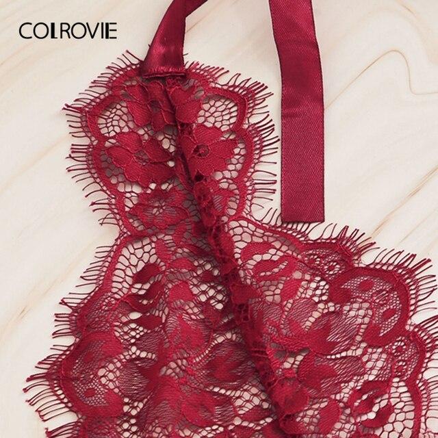 COLROVIE Burgundy Floral Lace Scallop Knot Halter Sexy Lingerie Teddy Bodysuit Women Pajamas 2019 Summer Sleepwear Nightgowns 3