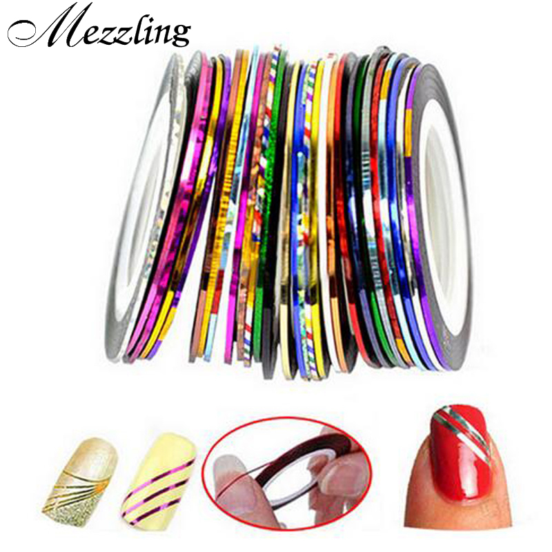Hot Sale 20 Designs Striping Tape linha fio metálico Nail Art Stickers decoração 3d criativo DIY unhas acessórios ferramentas unhas