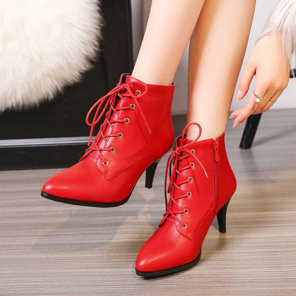 Meotina/ботильоны зимние женские ботинки полусапожки на высоком каблуке со шнуровкой обувь с острым носком на квадратном каблуке Женская обувь на молнии, большие размеры 33-43