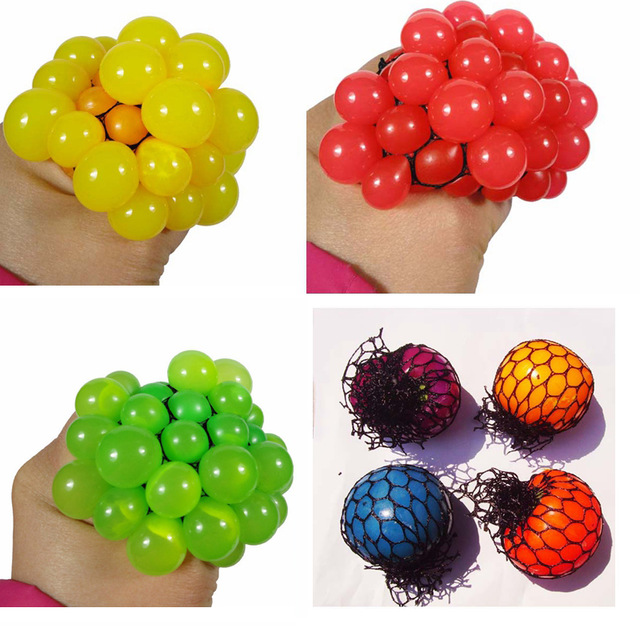 1pc 6cm Stress Ball Release Pressure Novelty Squeeze Hand Wrist Exercise Antistress Grape Shape For Children Adult Rubber Ball