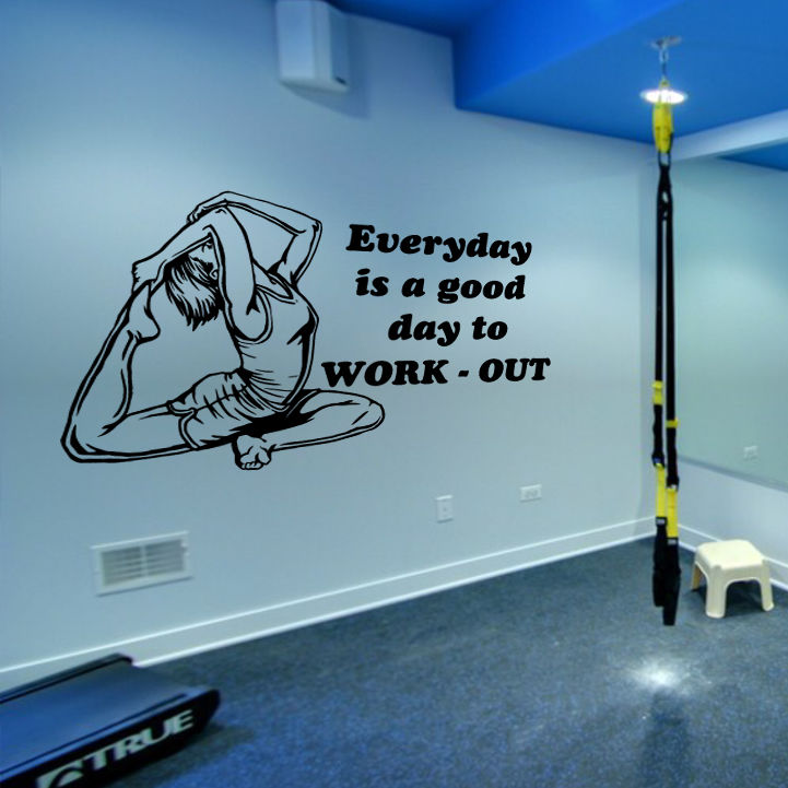 Wall Decal Fitness Gymnastics Muscle Everyday work Sport Gym phrase