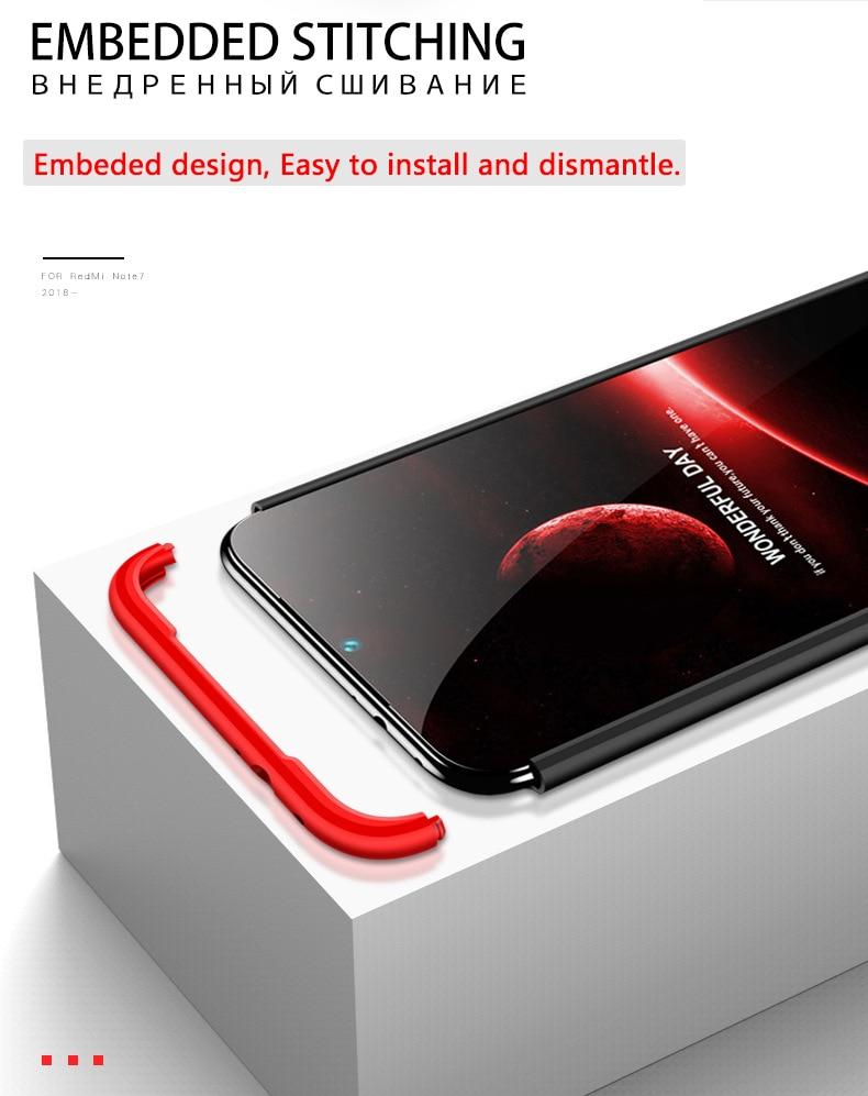 HTB11I33aLvsK1Rjy0Fiq6zwtXXaY 3-in-1 Plastic Hard 360 Tempered Glass + Case for Xiaomi Redmi Note 7 Anti-Shock Back Cover Case for Xiaomi Redmi Note 7 Pro 7A