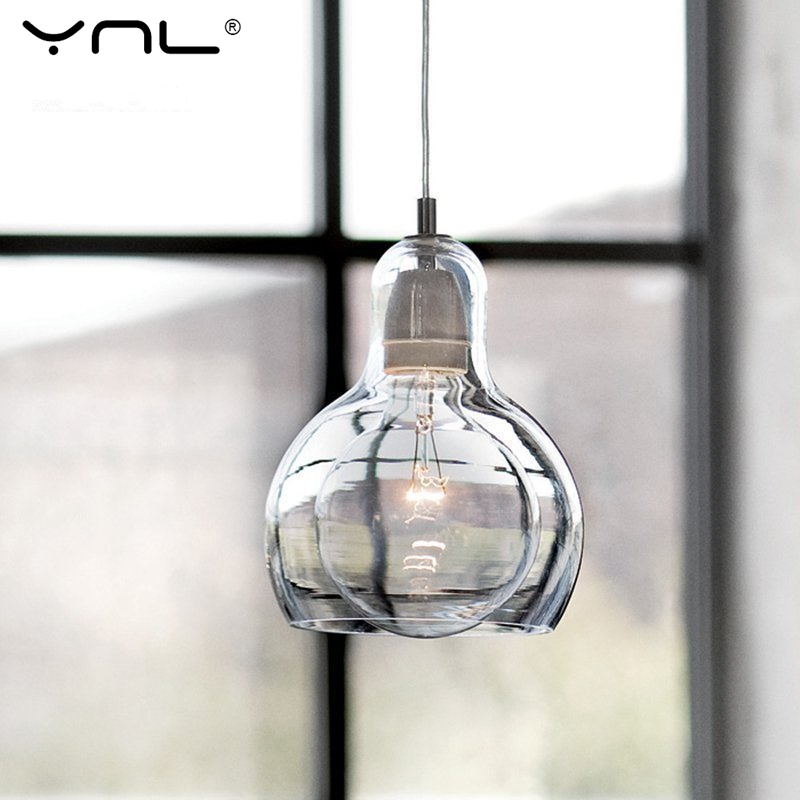 YNL Modern Loft Cord Pendant Lights Clear Glass Lampshade celling lights with E27 Retro Edison bulb Indoor Lighting Home Decor