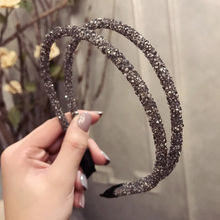Full Drilling Double Thin Hairband Women Girls Hair Head Hoop Bands Accessories For Girls Jewelry headband double fine side full drilling double thin headband for women fashion glitter hairband hair hoop korean girls hair accessories headwear