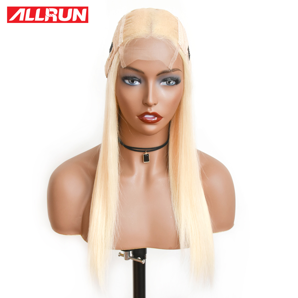 Allrun 4 4 Lace Closure Human Hair Wigs Blonde Color 613 Lace Frontal Wig Brazilian Straight