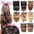 2016 Superventas Virginal Remy Del Pelo 100% Clip En Extensiones de cabello Clip En La Cabeza Completa Set 11 Colores disponibles 80 g/Set