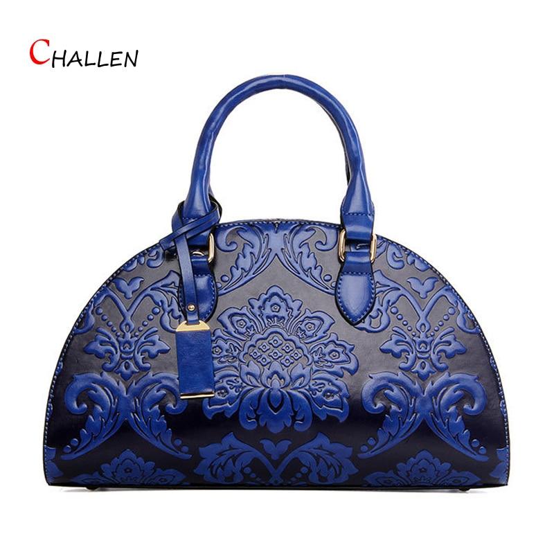 ФОТО National Shell Bag Famous Brand Women Handbags Pu Leather Shoulder Messenger Bags Fashion Floral Blue Zipper Clutch Soft Sac B17