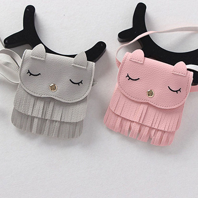 Children Smile Face Embroidery Coin Purse Messenger Bag Baby Girls Cat Ear Coin Purse Red Cute Bags For Kids Gifts 2018 New