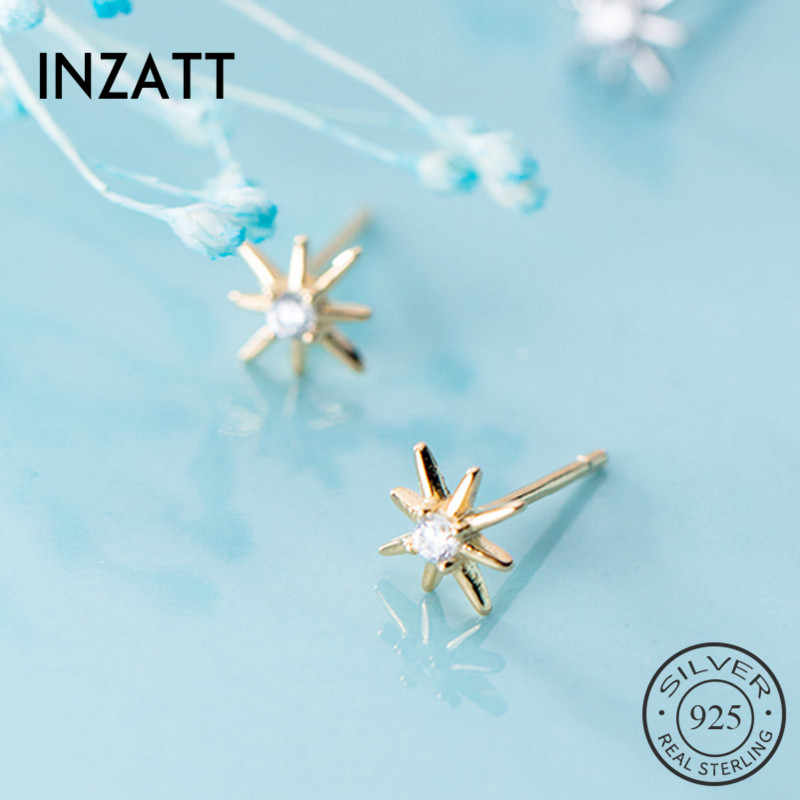 Inzatt Nyata 925 Sterling Silver Zirkon Star Stud Anting-Anting untuk Fashion Wanita Lucu Baik Perhiasan 2019 Minimalis Aksesoris Hadiah