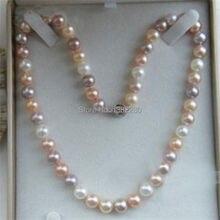 """7-8mm Multicolor de agua dulce collar de perlas 18 """"Envío Libre Mujeres de la joyería de diseño"""