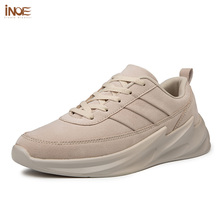 INOE Genuine Leather Spring Sneakers for Men Casual Shoes Breathable Flats Light Sole Autumn Leisure Shoes for Man Brown Beige