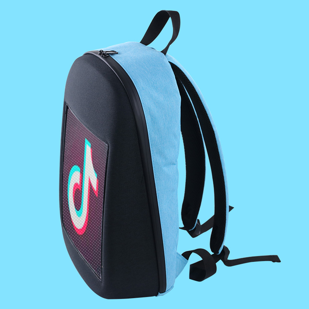 Akdsteel led screen display mochila diy sem fio wifi app controle publicidade mochila ao ar livre led andando outdoor mochila