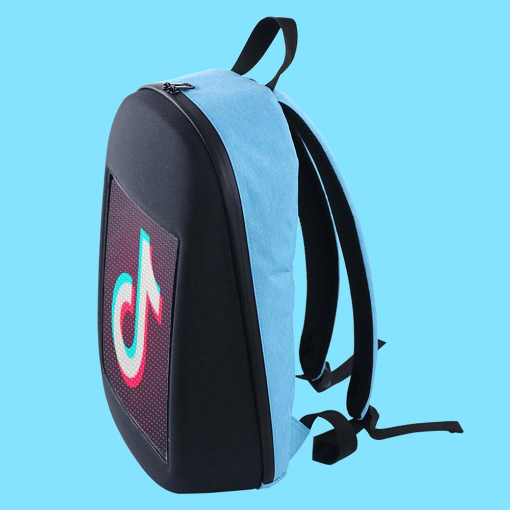Solled display de tela led mochila diy sem fio wifi app controle publicidade mochila ao ar livre led andando outdoor mochila