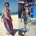 Модные Девушки Одеваются для 1 2 3 4 5 6 7 8 Лет Kidsnew весной и летом 2016 Тайском стиле платье 7 минут рукав платье