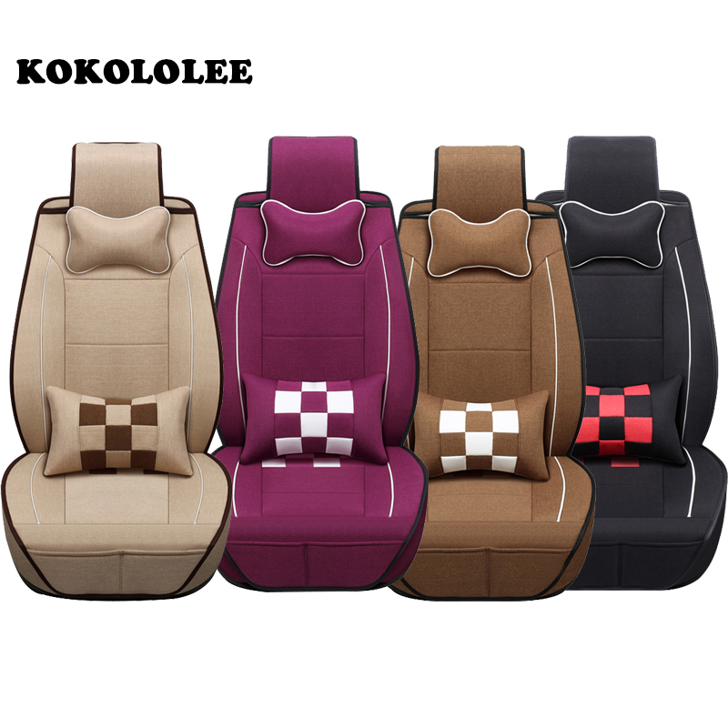 KOKOLOLEE Flax Auto Universal Car Seat Cover Automotive Seat Covers for toyota lada kalina granta priora renault logan car seats linen universal car seat cover for dacia sandero duster logan car seat cushion interior accessories automobiles seat covers