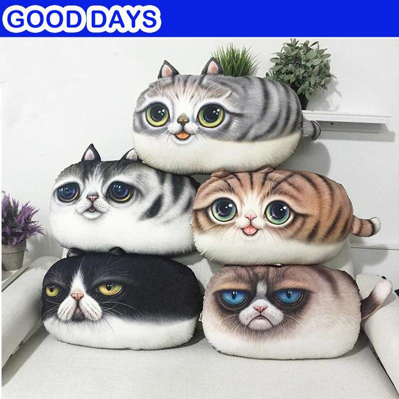 3D Cute Cat Emoji Face Pillow Cushion Creative Cartoon Sofa Office Nap Pillow Washable Pillow Car Seat Cushions