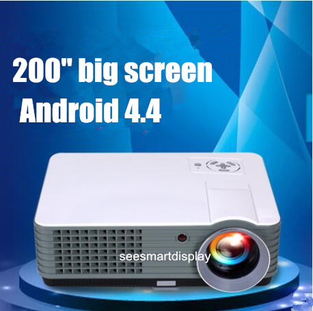 Nueva! Full HD 1080 P Android 4.42 WiFi inteligente Led 3D 2000 lumens del teatro casero proyector de la TV Projektor Video Beamer