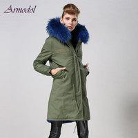 Winter Women Blue Real Fox Fur Female Jacket Mrs Brand Jacket With Big Raccoon Hood Collar