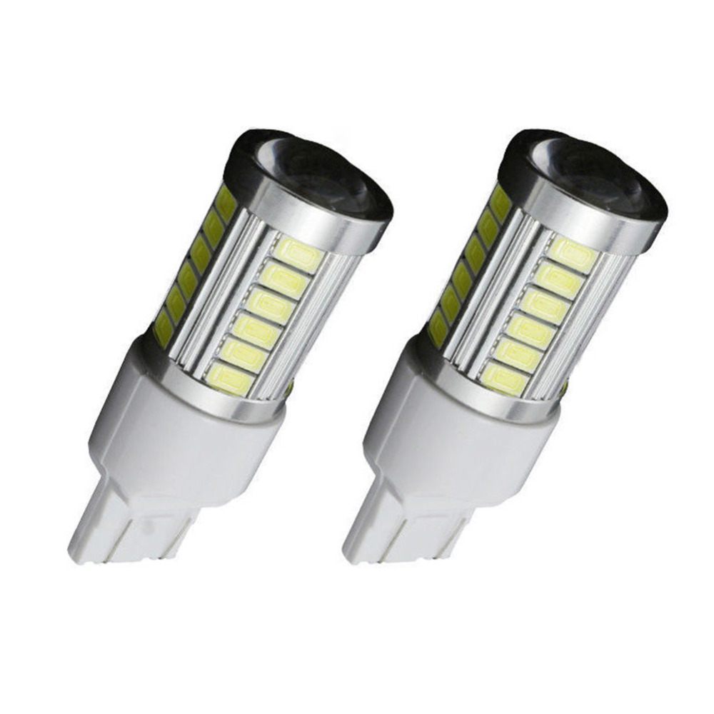 2PCSA uto DRL Daytime Running Light License Plate Lights T20 7443 <font><b>W21</b></font> <font><b>5W</b></font> 33 SMD 5630 5730 Led Car Stop Lamp Rear Tail Bulbs image